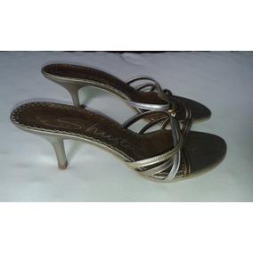 Sandália - N.37 Com Salto - Tiras Prata/bronze/dourado