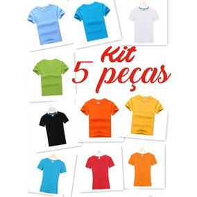 Camiseta Infantil Lisa 100% Algodão Manga Curta Kit 5 Peças