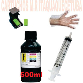 Kit Recarga Cartucho Hp Preto 500 Ml Snap 664/662/122/60/xl