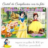 Blanca Nieves Cartel De Bienvenida Cumpleaños Con Tu Foto