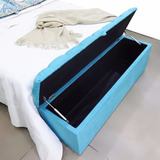 Puff Bau Casal 1,40m Ideal Guardar Almofadas E Cobertores