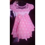 Vestido Infantil Rosa Com Bolinhas Brancas