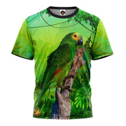 Camiseta 3d Papagaio Animais Desenho Florido Camisa Blusa 01