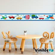 Vinilo Decorativo Infantil Guarda Autos Aviones Camion M119
