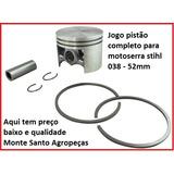 Pistao Completo + Anéis E Travas Motoserra Stihl 038 -52mm