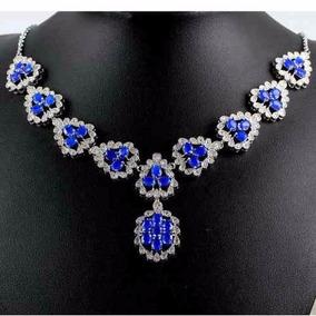 Collar De Zafiro Azul Natural , No Subasta