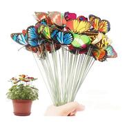 Kit Borboletas Coloridas Decorativo Jardim Festa Estaca Flor