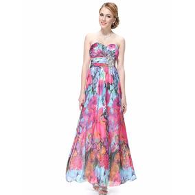 Vestido Importado Festa Formatura Madrinha Colorido Floral