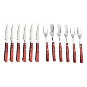 Set 12 Cubiertos Cuchillo Tenedor Polywood Tramontina
