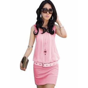 Vestido Mini Bluson Blusa Chiffon Elegante Casual Sexy Retro