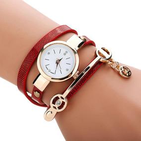 Relógio Feminino Vermelho Com Pulseira De Couro E Strass