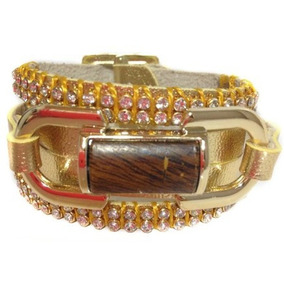 Pulseira Couro Bracelete Ecologico Cor Ouro Dourado W