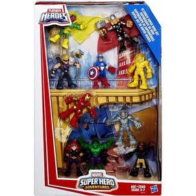 Conjunto Marvel Super Hero Adventures Com 10 - Playskool