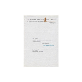 Presidente Herbert Hoover - Escrito Con Membrete Firmado El