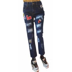 Pantalon Jean Forever 21, Boyfriend Con Parches Y Roturas