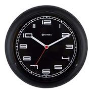 Relógio De Parede  Eurora Cozinha Preto Fundo Preto 6521