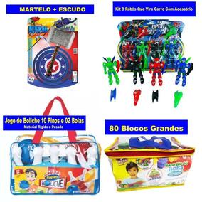 Kit Boliche Infantil + 80 Blocos Grandes + Martelo E Escudo
