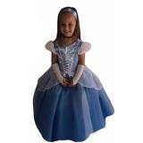 Vestido Festa Fantasia Princesa Cinderela + Luva + Tiara +