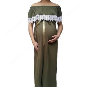 Vestido De Maternidad Largo Con Encaje.