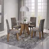 Sala De Jantar Vanessa 4 Cadeiras Milena Cim Savana/stone