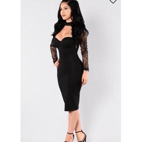 Vestido A La Rodilla Negro Encaje Negro Stretch Talla Xs