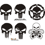 Kit Punisher 02 - 6 Calcos Alto 20 Cm C/u Graficastuning