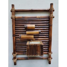 Fonte Agua Cascata Bambu Parede 3 Quedas Tamanho 80 X 60 Cm