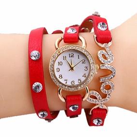 Pulseira Vermelha Couro Relógio Analógico - Frete Grátis