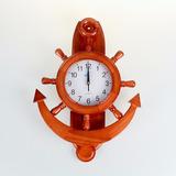 Reloj De Madera En Forma De Ancla-timon C/pendulo
