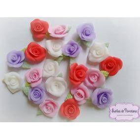 Mini Apliques De Rosas Por 50 Unidades En Porcelana Fria