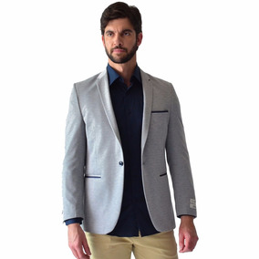 Saco Casual Hombre Corte Slim Fit Gris Jersey Rack & Pack