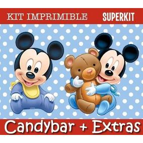 Kit Imprimible Mickey Bebe - Invitaciones Cumpleaños