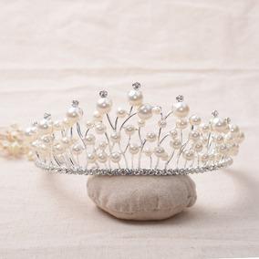 Coroa Tiara Perolas Cristai Acessório Cabelo Noivas Luxo 7.2