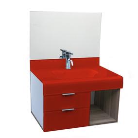 Pia P/ Banheiro Lavatório De Vidro Stetiun 80x46cm Vermelho