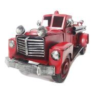Caminhão De Lata Bombeiro Decoração Vintage 35cm
