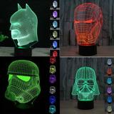 Lamparas 3d Led Star Wars Batman Iron Man Darth Vader Y Mas