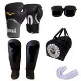 Kit Boxe Muay Thai Luva Everlast + Acessórios + Bolsa