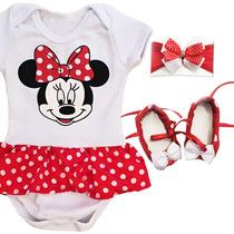 Kit Body Vestido Minnie Com Sapatinho E Tiara Bebe Menina