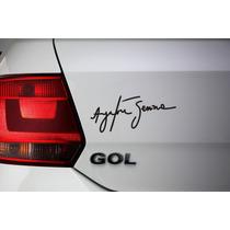 2 Adesivos Ayrton Senna Assinatura Recorte Perfeito S/ Fundo