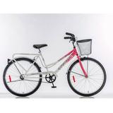 Bicicleta Futura Country Rodado 26 Mujer Color Rosa Y Blanco