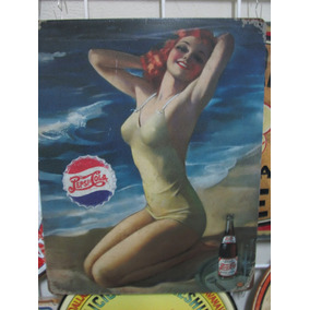 Pepsi Cola Play Cartel Metalico Vintage Retro Antiguo Poster
