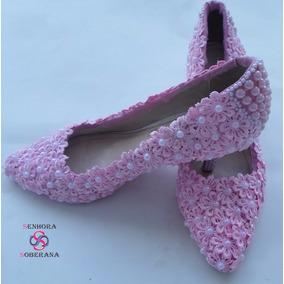 Sapato Scarpin Rosa Florado Perolado (casamento) (noivas)