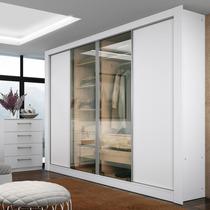 Guarda-roupa Casal 4 Portas (2 Vidro) Reflecta Madesa Branco