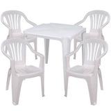 Conj Mesa E 4 Cadeiras Plásticas Bela Vista Empilháveis Mor