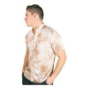 Camisa Hawaiana Para Hombre Cuello Mao Slim Fit