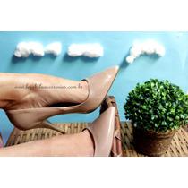 Scarpin Luxo Nude Verniz Bico Fino Confort 9 Cm