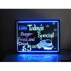 Quadro Painel Neon Luminoso Lousa Led 30x40 + Kit 6 Canetas