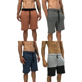 4 Bermudas Moletom Moletom Treino Slim Fit Moleton Shorts