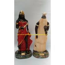 2 Escultura Orixa Africano Iansâ Obaluaê Imagem 45c Estatua