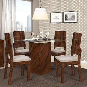 Conjunto Mesa Formosa Tampo De Vidro 4 Cadeiras Dj Móveis